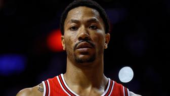 MIAMI, FLORIDA - APRIL 07:  Derrick Rose #1 of the Chicago Bulls looks on during a game against the Miami Heat  at American Airlines Arena on April 7, 2016 in Miami, Florida.  NOTE TO USER: User expressly acknowledges and agrees that, by downloading and or using this photograph, User is consenting to the terms and conditions of the Getty Images License Agreement.  (Photo by Mike Ehrmann/Getty Images)