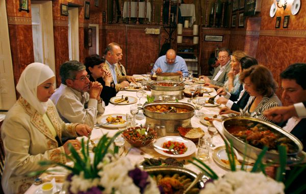 Members of the Syrian Academy of Gastronomy taste Aleppine cuisine at a restaurant onOct. 21, 2007.