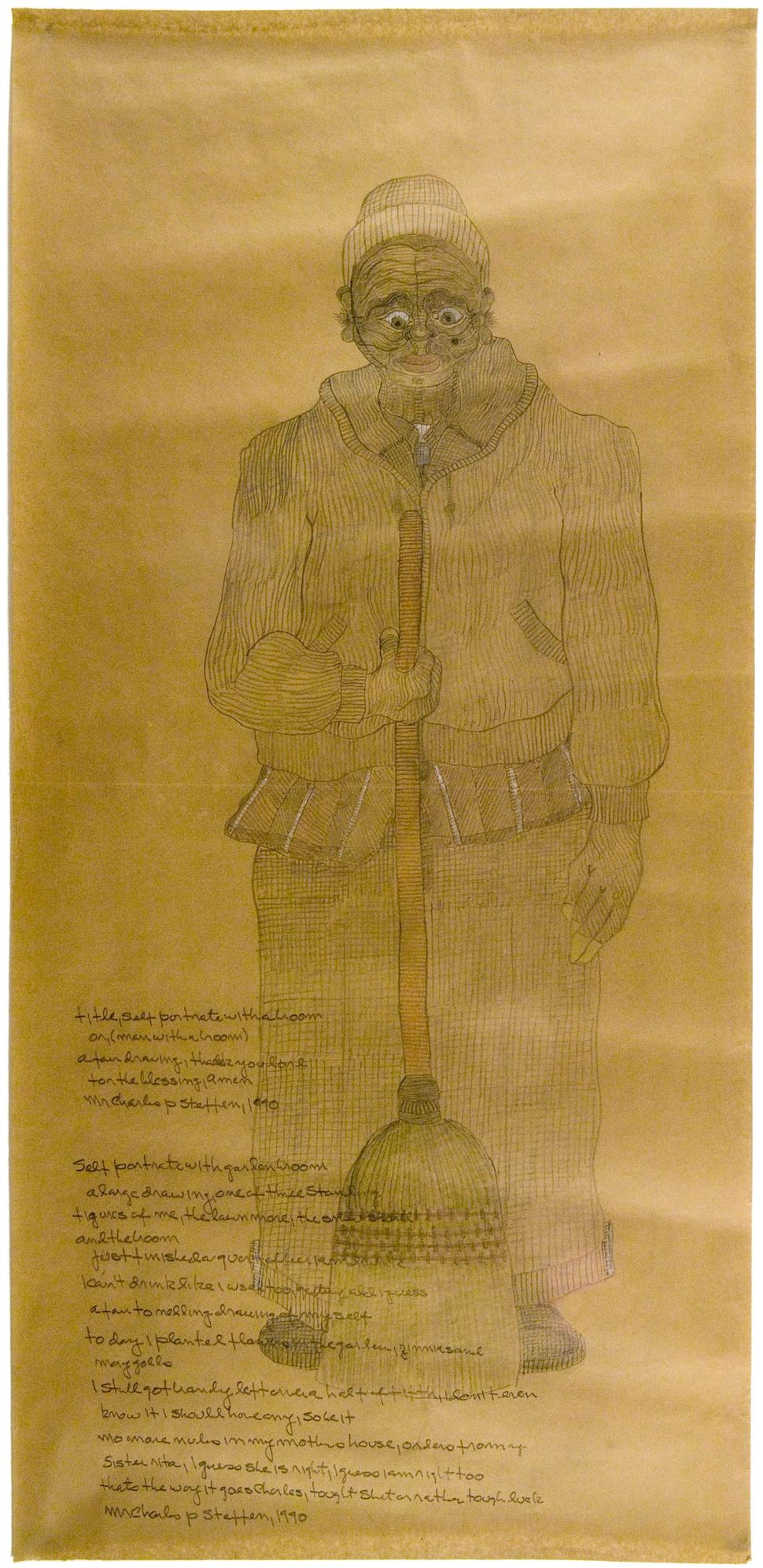 """Self Portrait with Broom,"" 1990"