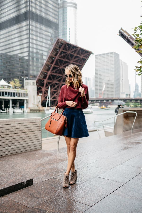 Make the most of a flared miniskirt while battling wintry weather by topping the wardrobe staple with a thigh-grazing turtlen