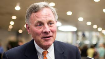 UNITED STATES - MAY 7: Sen. Richard Burr, R-N.C., speaks with reporters following a vote on the Senate floor on Thursday, May 7, 2015. (Photo By Bill Clark/CQ Roll Call)