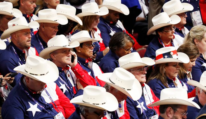 Members of Texas' delegation wore cowboy hats to the Republican National Convention in July.