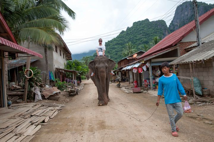 A tourist rides an elephant in Laos.