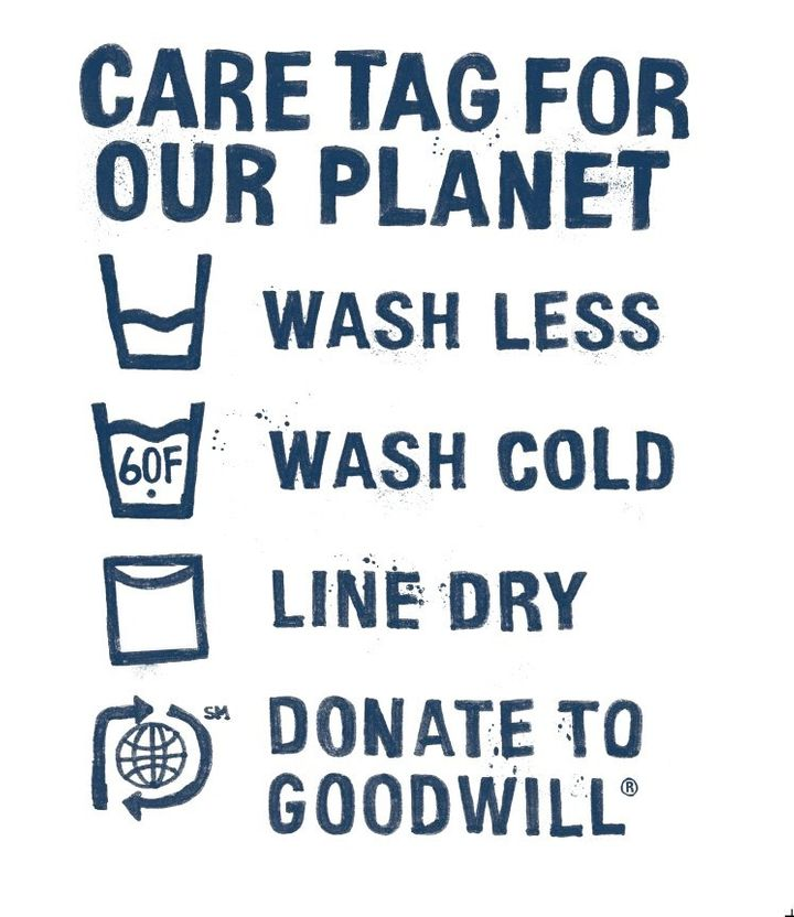 Levi's products carry a gentle reminder: caring for your clothes includes disposing of them responsibly when you don't w
