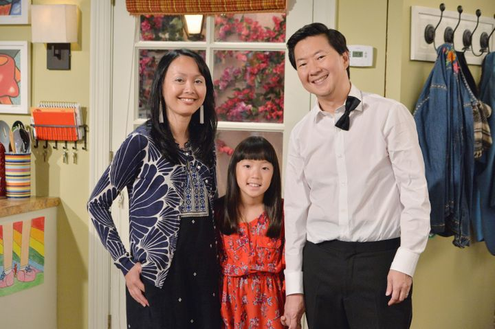 """Ken Jeong with his wife, Tran, and his daughter, Zooey, on the set of """"Dr. Ken."""""""