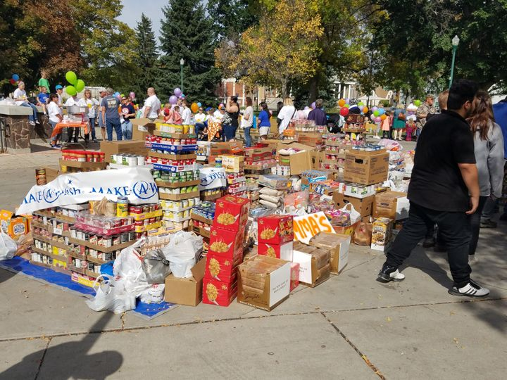 The huge amount of food donated at the food drive.