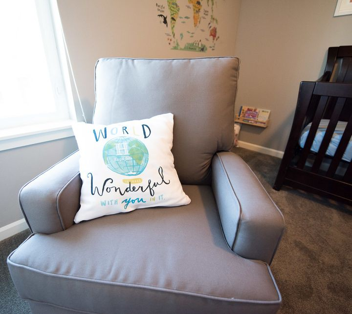 I was stoked to create this customized pillow through Tiny Prints' new Nursery Collection because it fits the room perfectly!