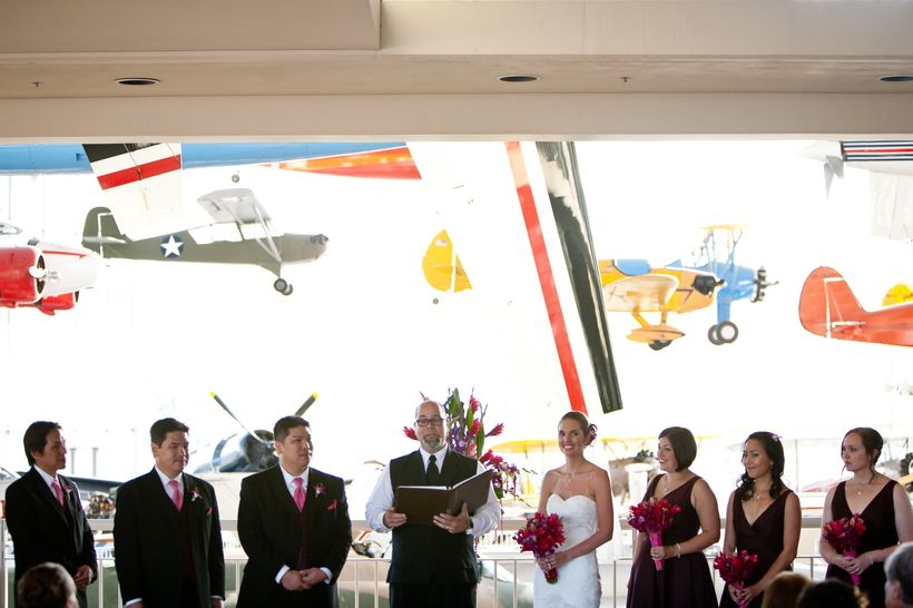 We held the ceremony and reception in the event space overlooking the Great Gallery at the Museum of Flight in Seattle, WA.
