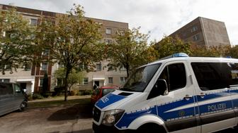 LEIPZIG, GERMANY - OCTOBER 10: German police outside of the apartment building where hours earlier police arrested Syrian terror suspect Jaber Al-Bakr on October 10, 2016 in Leipzig, Germany. Al-Bakr is accused of planning a terror attack and having prepared high explosives for it at an apartment in Chemnitz. Police raided the Chemnitz apartment on Saturday but Al-Bakr managed to flee. According to media reports he approached two fellow Syrians at the main train station in Leipzig and asked if he could stay with them. The two men reportedly brought him to their apartment but then overwhelmed him and called the police. (Photo by Carsten Koall/Getty Images)