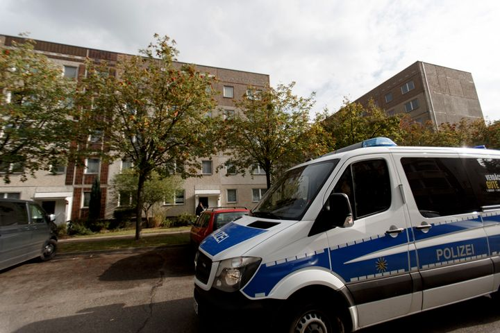 German police outside of the apartment building where hours earlier police arrested Syrian terror suspect Jaber Al-Bakr on Oc