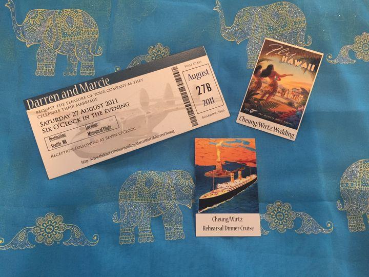 Travel-inspired wedding and rehearsal dinner invitations.