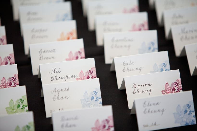 We found blank name cards with tropical flowers on them, which aligned with our travel-inspired wedding theme.