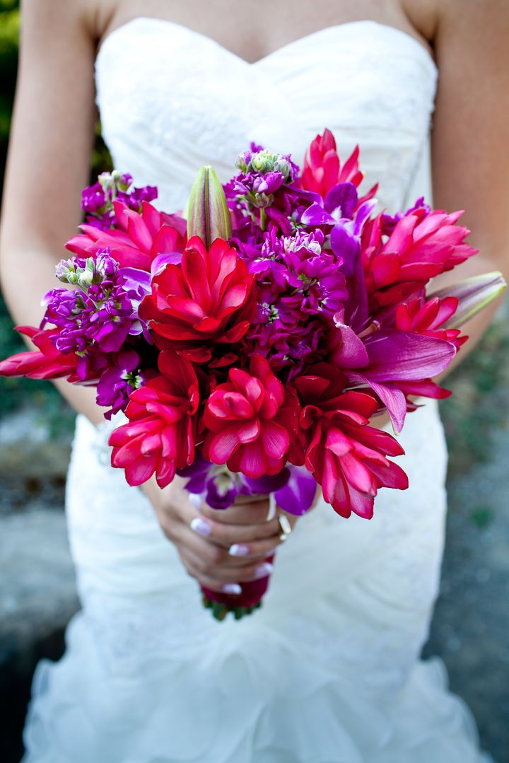 This gorgeous tropical Hawaiian bouquet by Contemporary Floral tied into our travel theme.