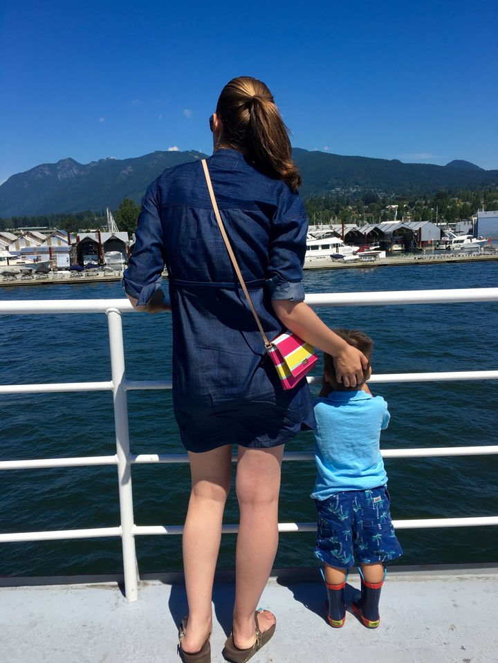 Enjoying the sunshine and the views from the Harbour Cruise in Vancouver.