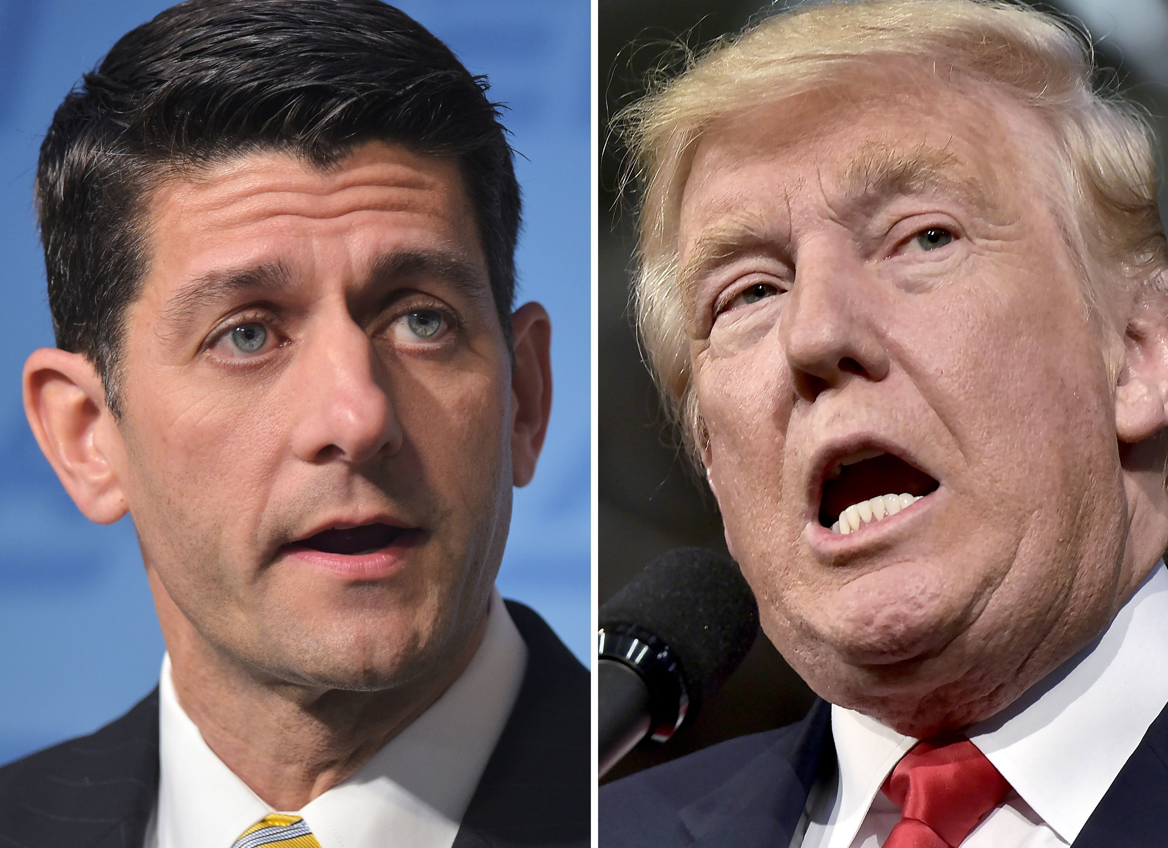 This combination of photos shows Republican presidential nominee Donald Trump(R) on October 10, 2016 and Speaker of the House Paul Ryan, R-WI, on June 22, 2016. US House Speaker Paul Ryan, the nation's top elected Republican, told lawmakers October 10, 2016 he will no longer 'defend' or campaign with presidential nominee Donald Trump, focusing instead on maintaining his party's majority in Congress. / AFP / PHOTO DESK        (Photo credit should read PHOTO DESK/AFP/Getty Images)