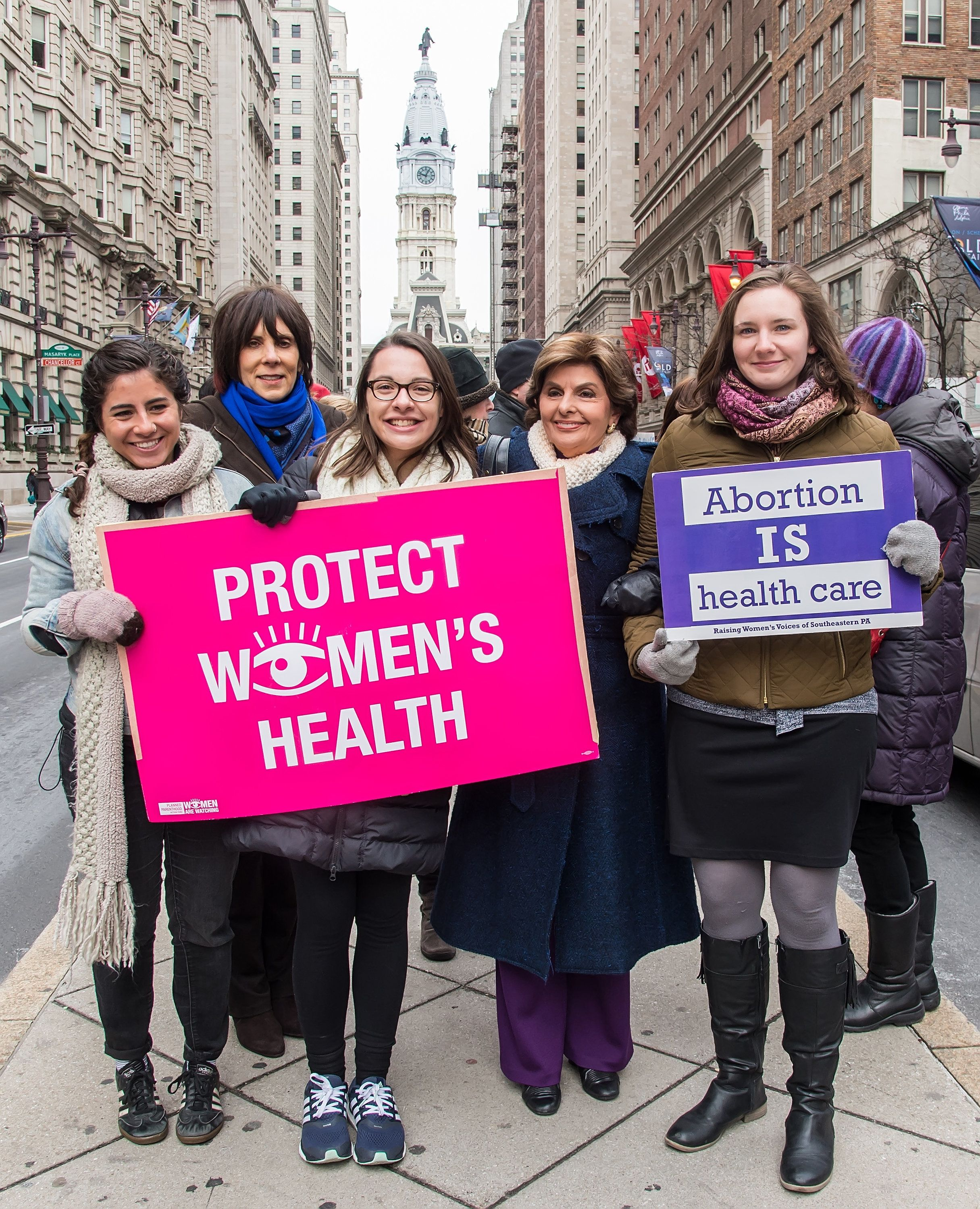 PHILADELPHIA, PA - JANUARY 22:  Planned Parenthood Southeastern Pennsylvania CEO/President Dayle Steinberg (2L) and Civil rights lawyer Gloria Allred (2R) attends the Pro-Choice Rally held in honor of the 43rd anniversary of the U.S. Supreme Court's decision in Roe v. Wade on January 22, 2016 in Philadelphia, Pennsylvania.  (Photo by Gilbert Carrasquillo/Getty Images)