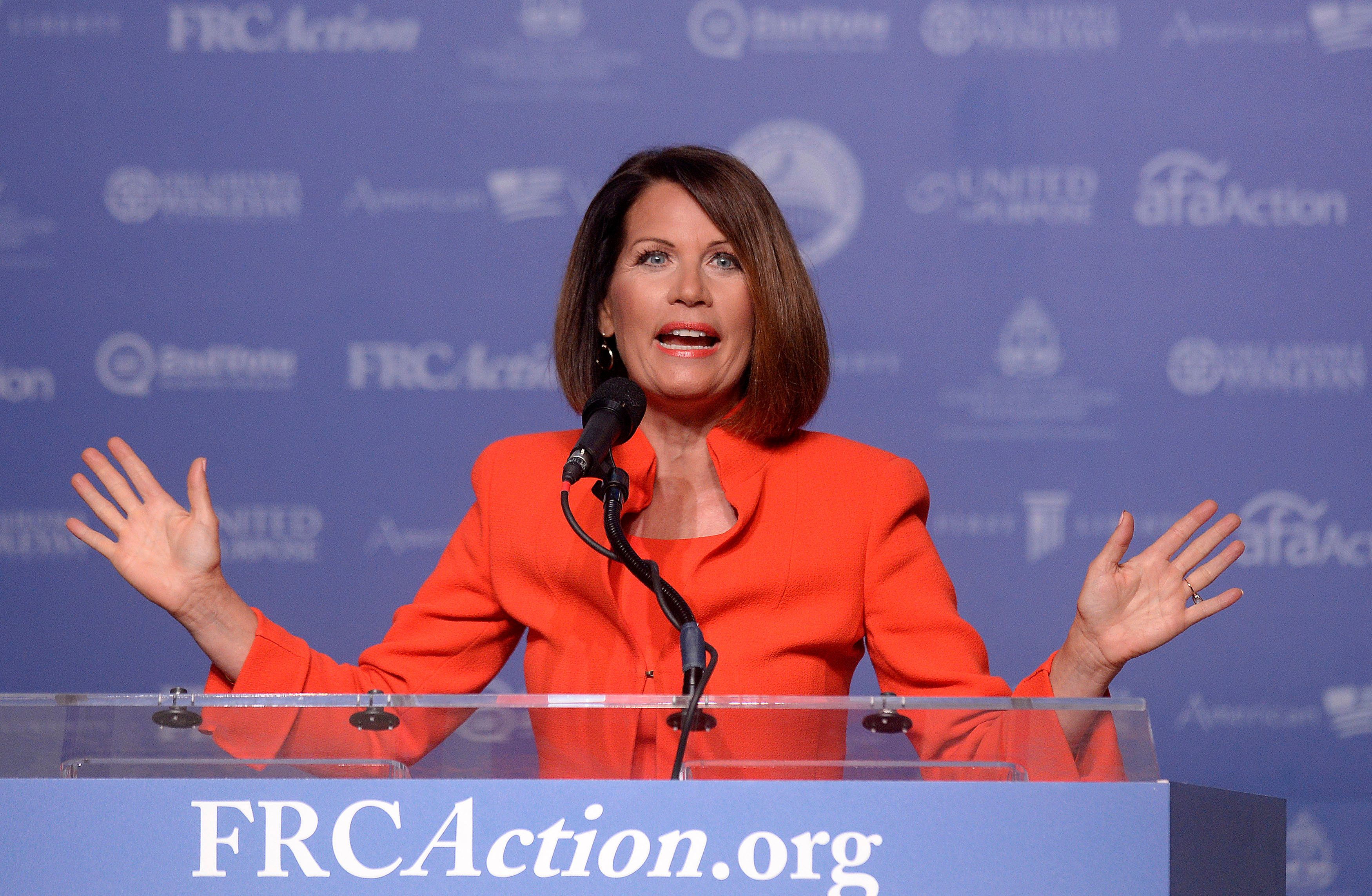 Rep. Michele Bachmann speaks at the 11th annual Values Voter Summit, in Washington, D.C., U.S., on Friday September 9, 2016. .Photo by Olivier Douliery/Abaca