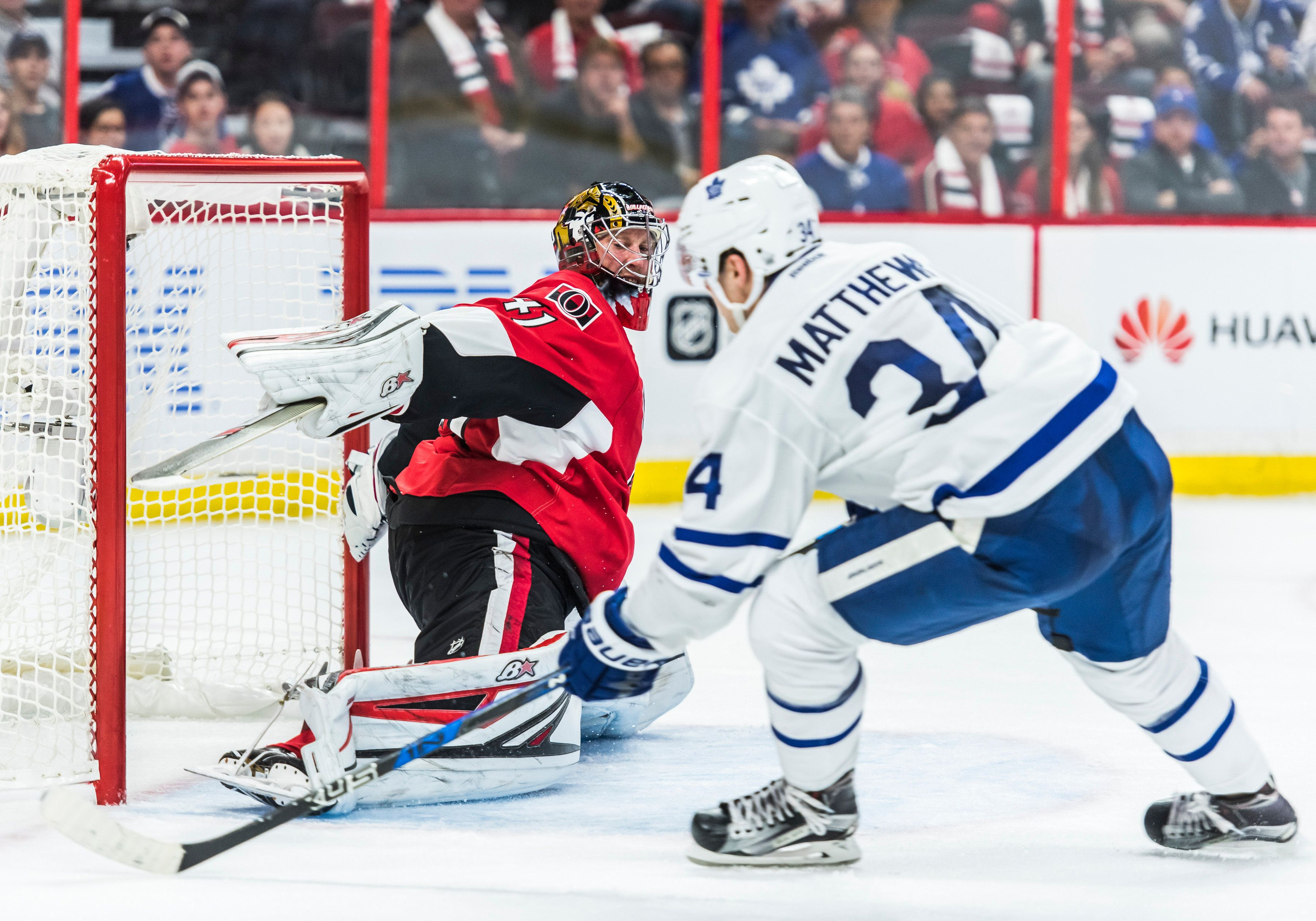 October 12, 2016: Toronto Maple Leafs Center Auston Matthews (34) scores a goal during the NHL game between the Ottawa Senators and the Toronto Maple Leafs at Canadian Tires Centre in Ottawa, Ontario, Canada. (Photo by Steve Kingsman/Icon Sportswire via Getty Images)