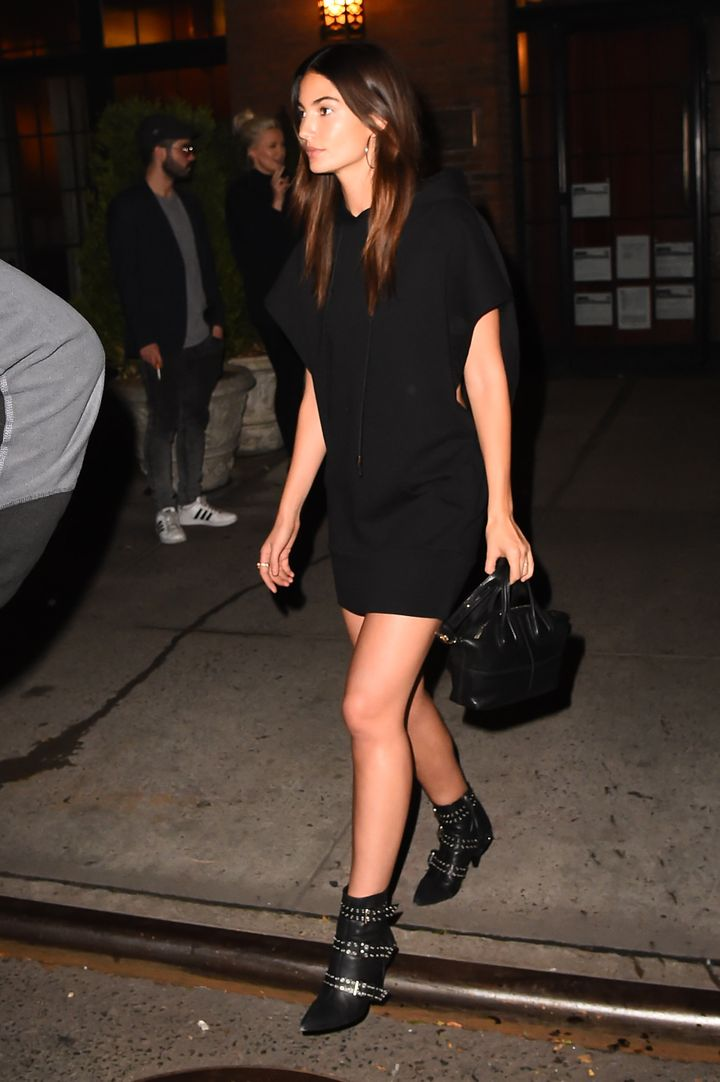 Lily Aldridge rocked an LBD and black boots.