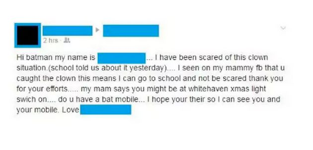 A Facebook massage reportedly from a child worried about the killer clown