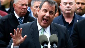 HOBOKEN, NJ - SEPTEMBER 29:  New Jersey Gov Chris Christie (C) speaks during a press conference after a NJ Transit train crashed in to the platform at Hoboken Terminal September 29, 2016 in Hoboken, New Jersey. According to reports, at least one person has been killed and over 100 injured.  (Photo by Eduardo Munoz Alvarez/Getty Images)