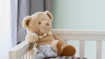 Teddy bear in crib