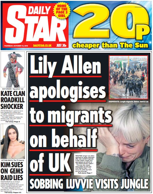 The Daily Star: 'Lily Allen apologises to migrants on behalf of UK. Sobbing luvvie visits
