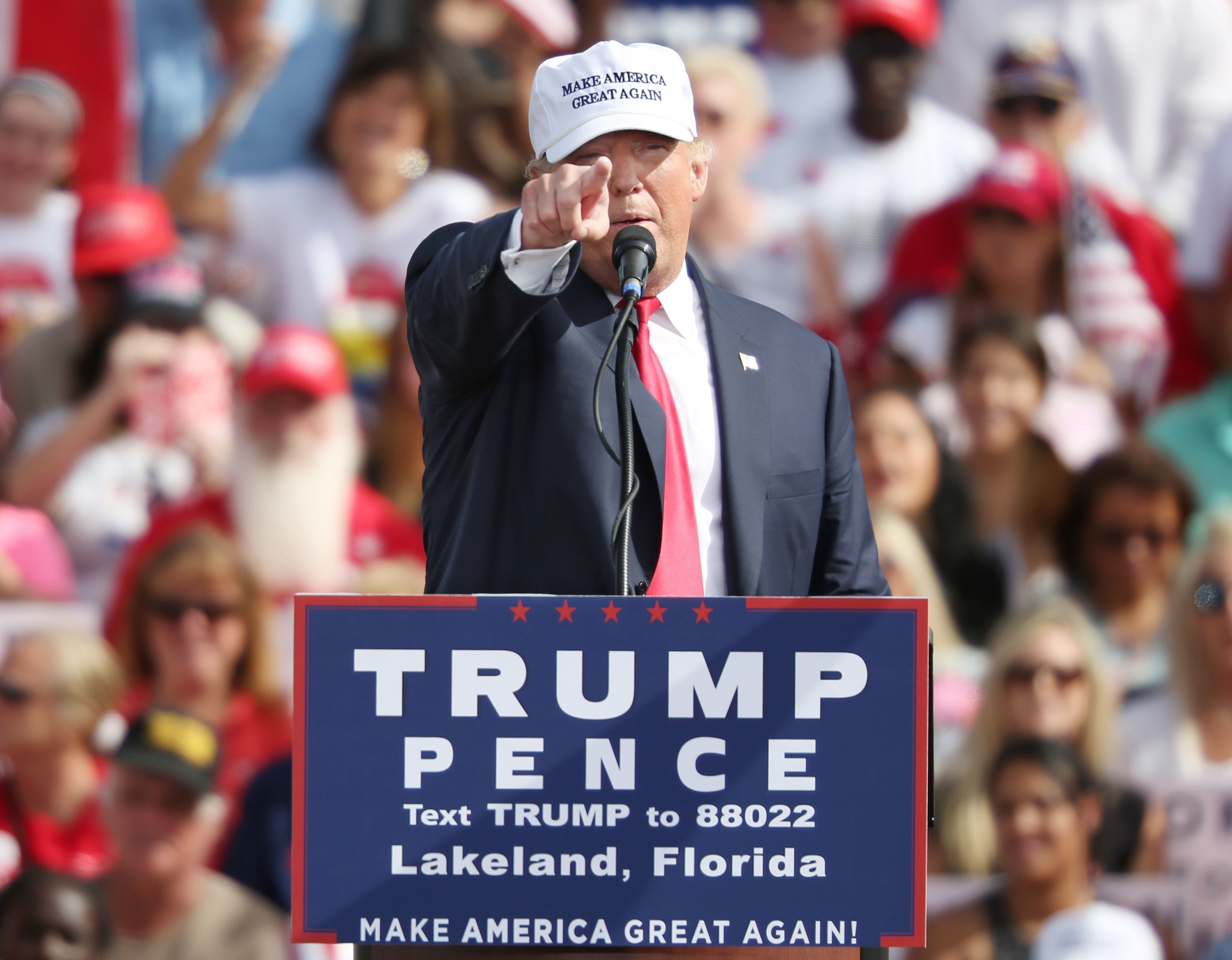 Trump addresses supporters during a campaign stop in Lakeland, FL on Oct. 12.