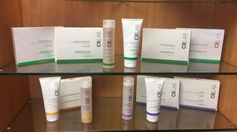 CRLab trichology line. Yellow is for sebum regulating. Green is forhair loss prevention. Purple is for moisturizing and anti