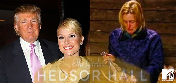 """Left: Donald Trump and former Miss USA Tara Conner, Right: Jen Marden one of """"The Girls of Hedsor Hall"""" cast"""