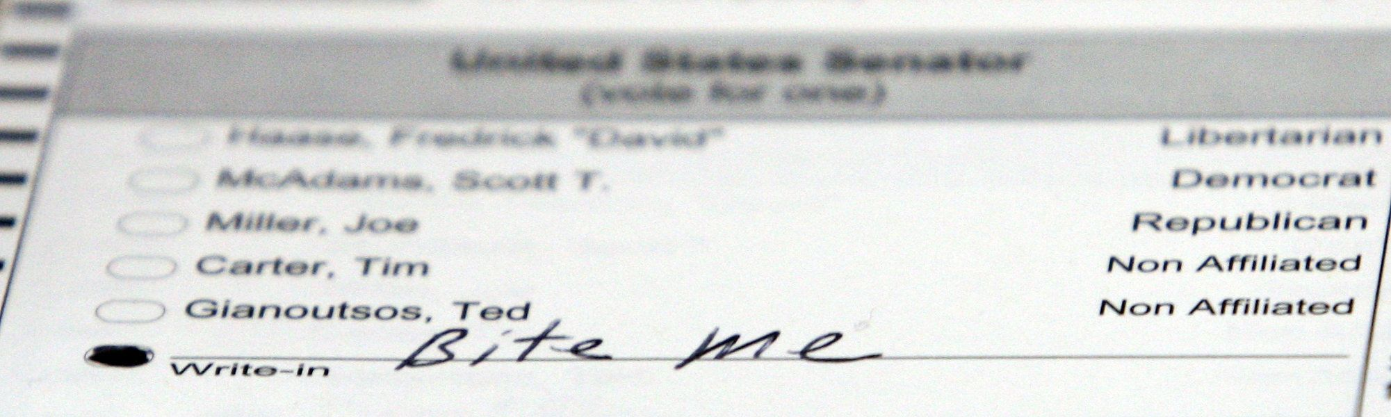 A ballot showing a voter's distaste for U.S. Senate candidates in Alaska is seen in this 2010 file photo in Juneau, Alaska.