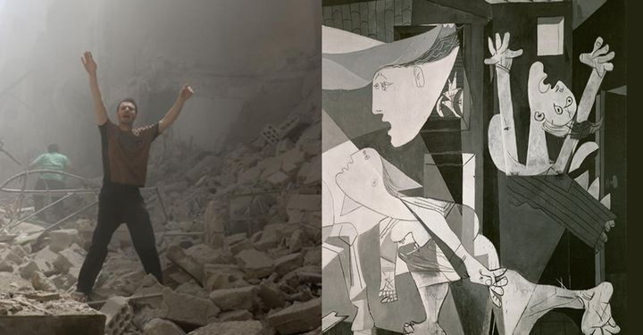 "Picasso's ""Guernica"" juxtaposed with the destruction in Aleppo. (Getty/WorldPost Illustration)"