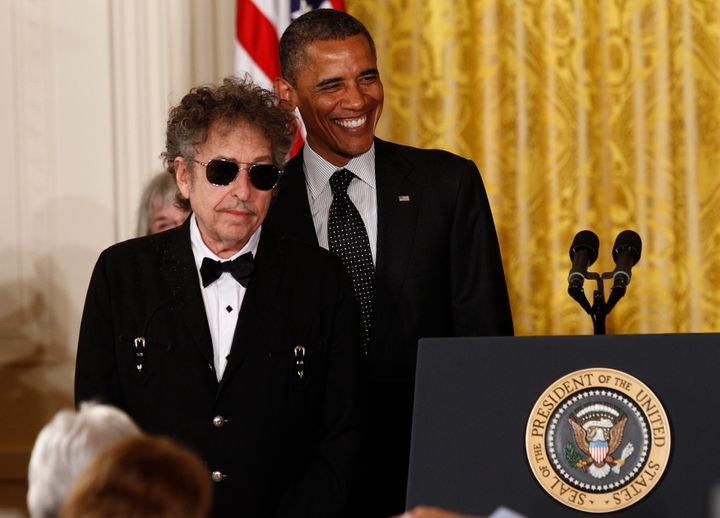 Bob Dylan, winner of the 2016 Nobel Prize for Literature, receives a Presidential Medal of Freedom from President Obama