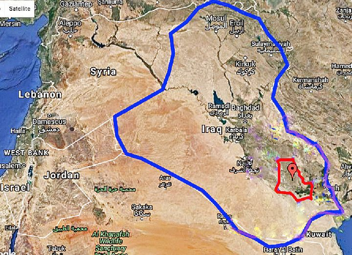 Outlined in red on this map, the Dhi Qar region of Iraq is where the first airport on Earth was created 5,000 years ago, acco