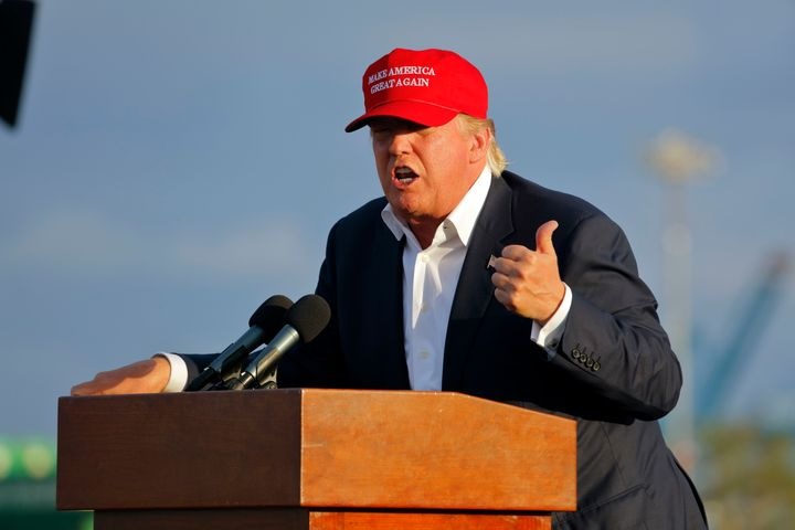 San Pedro, CA, September 15, 2015, Donald Trump, 2016 Republican Presidential Candidate, Speaks During A Rally Aboard The Bat