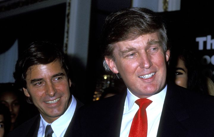 Donald Trump (right) pictured with modeling agent John Casablancas in 1991. One woman said she attended a dinner with both men in 1996, where Trump looked up models' skirts and commented on their underwear.