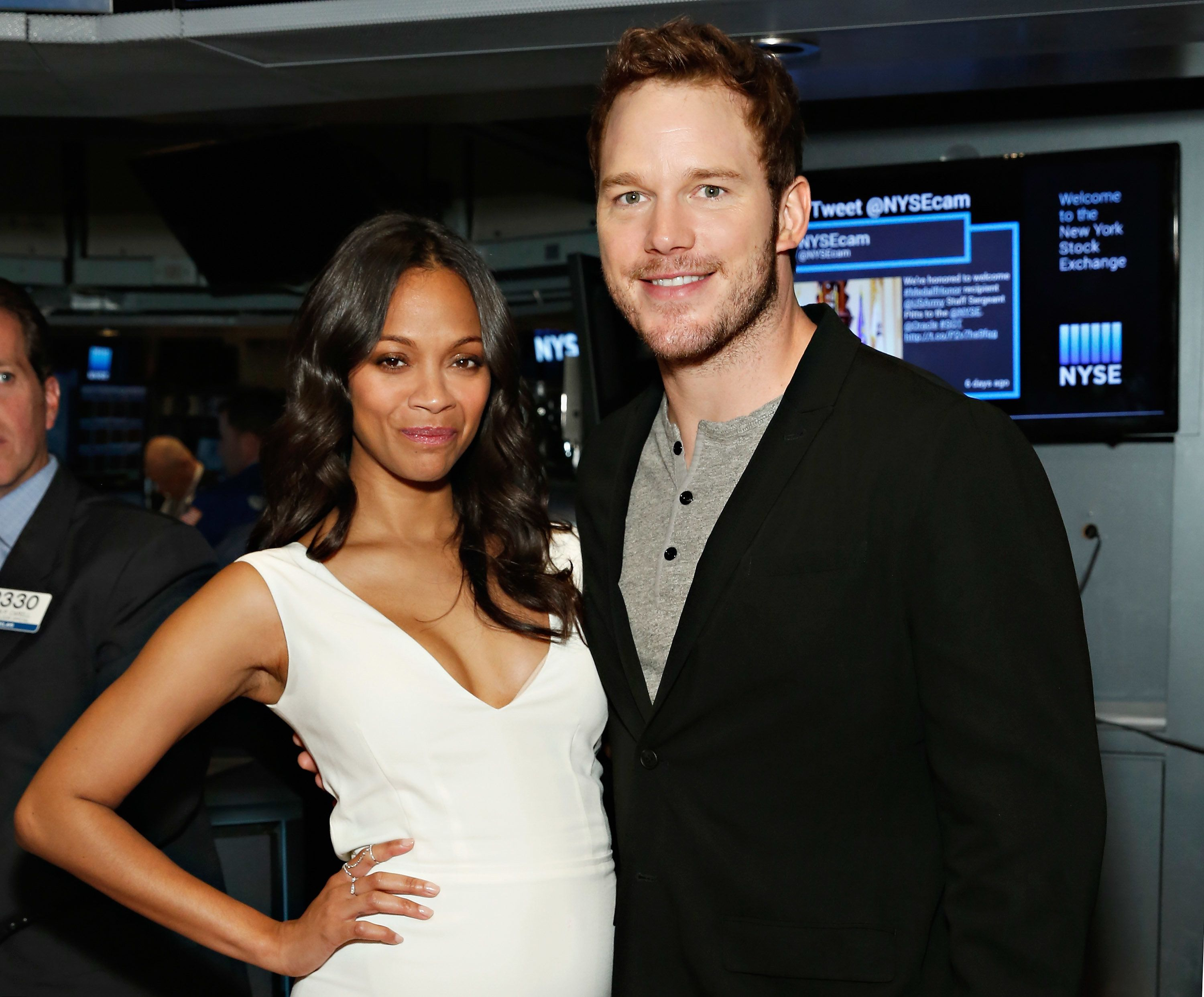 NEW YORK, NY - JULY 29:  Actors Zoe Saldana and Chris Pratt visit the New York Stock Exchange on July 29, 2014 in New York City.  (Photo by Cindy Ord/Getty Images)