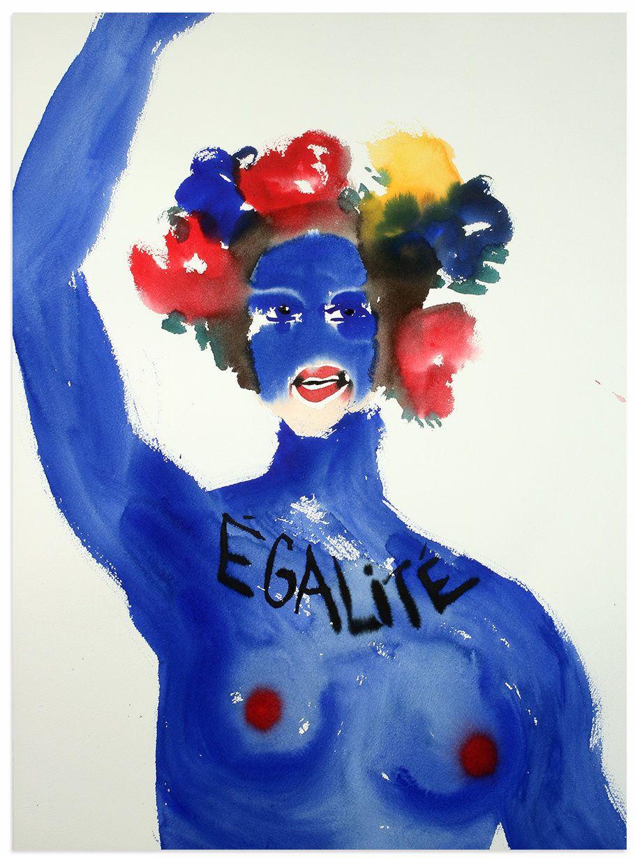 """""""Égalité,"""" 2016, watercolor on paper, 30 x 22 inches."""