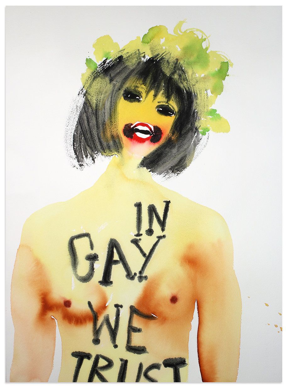 """""""In Gay We Trust,"""" 2016, watercolor on paper, 30 x 22 inches."""