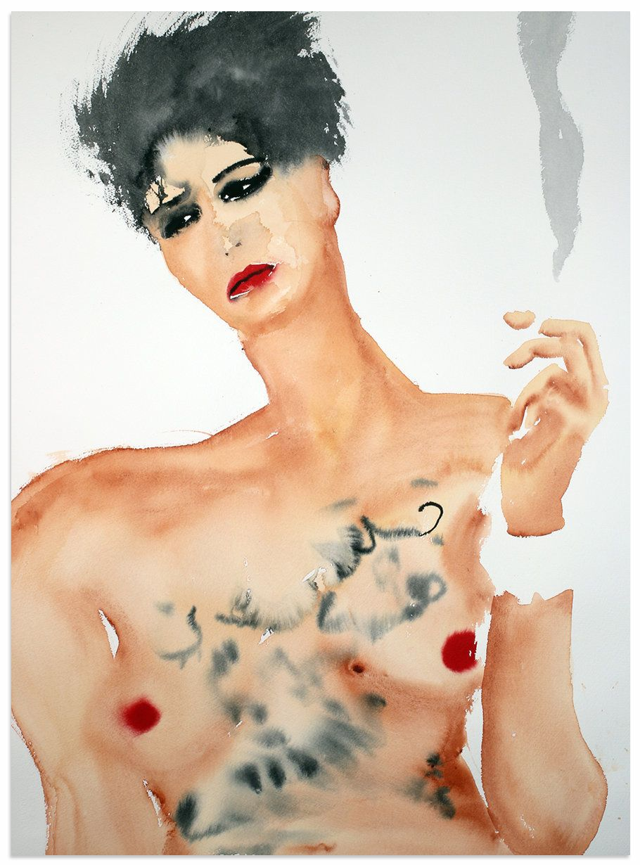 """Amina (Tyler) Sboui II,"" 2016, watercolor on paper, 30 x 22 inches."