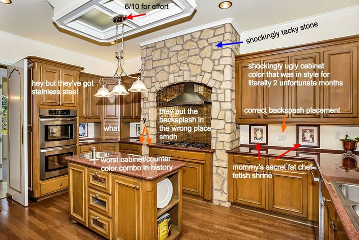 "The kitchen of a <a href=""http://www.mcmansionhell.com/post/150135343136/flower-mound-tx"" target=""_blank"">6,400-square-foot M"