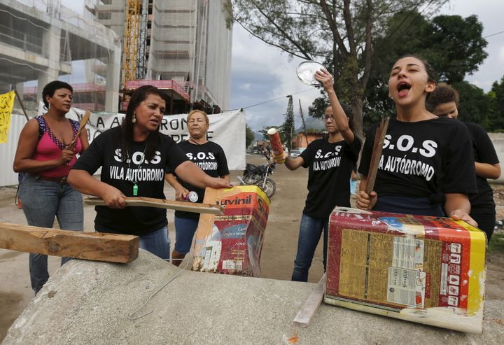Residents of the Vila Autodromo favela in Rio de Janeiro protest against their displacement ahead of the 2016 Olympics.