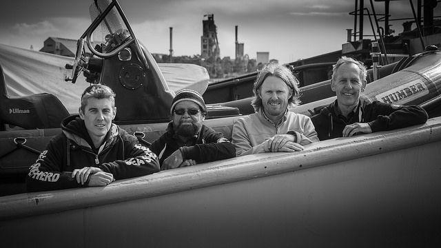 (Left to right) Sea Shepherd's Jeff Hansen, Mirning Elder Bunna Lawrie, The Wilderness Society's Peter Owen and legendary con
