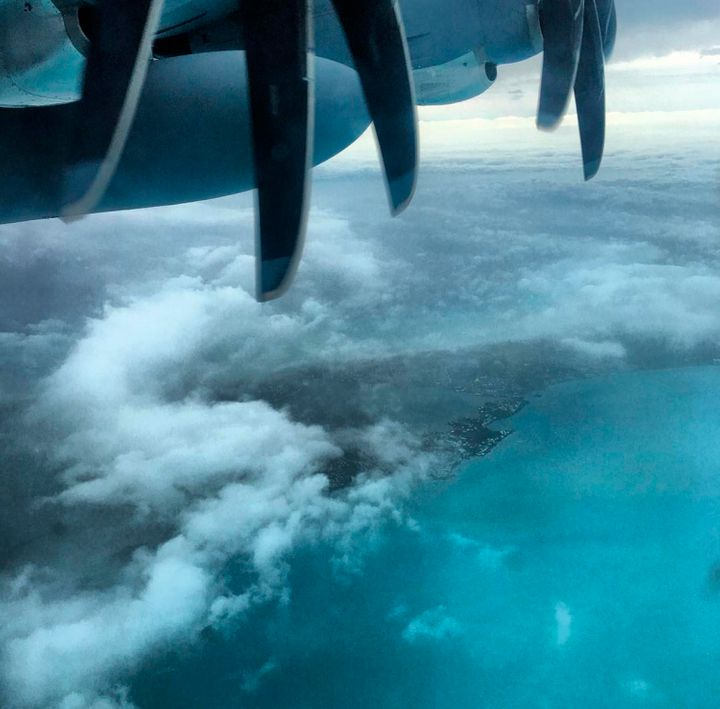 The eye of Hurricane Nicole passes over Bermuda, as seen from a U.S. Air Force Reserve aircraft.