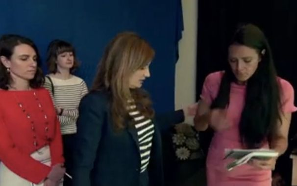 Karren Brady had to step in and help Jessica compose herself during a fraught few