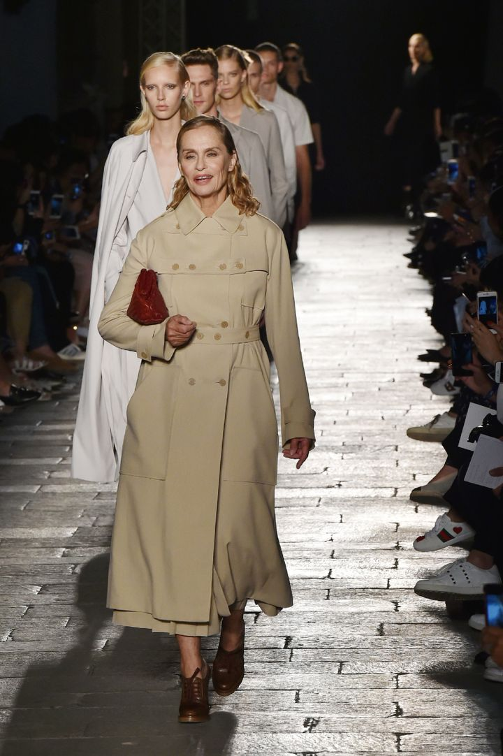Lauren Hutton walks at Bottega Veneta.