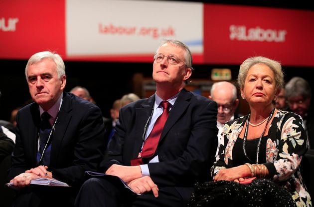Shadow Chancellor John McDonnell with former Shadow Cabinet colleagues Hilary Benn and Rosie