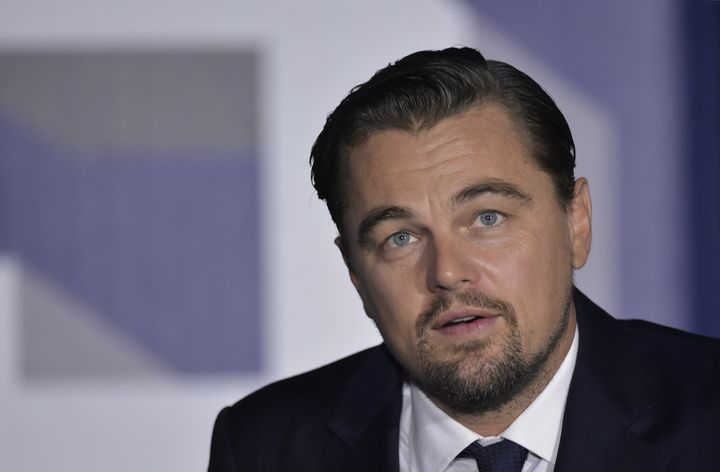 Leonardo DiCaprio speaks during a discussion on climate change during the South by South Lawn festival at the White Hous