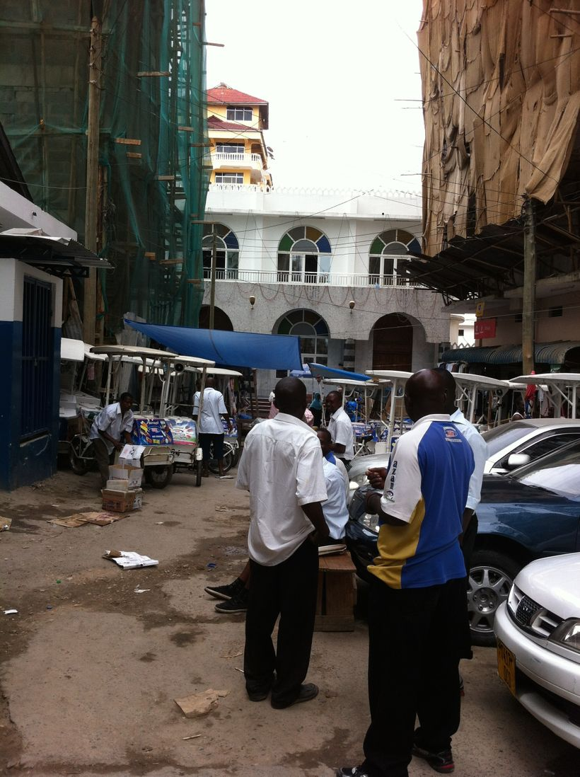 Azam ice cream vendors gather at Mskiti Mtoro (Mtoro Mosque), Livingstone & Tandamuti