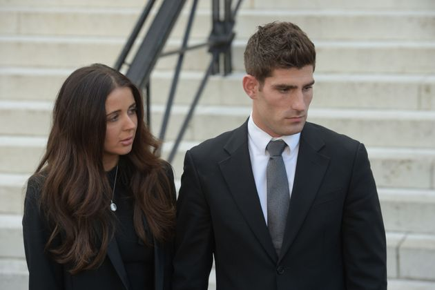 Ched Evans with his partner Natasha Massey outside Cardiff Crown Court, where he has been found not guilty...